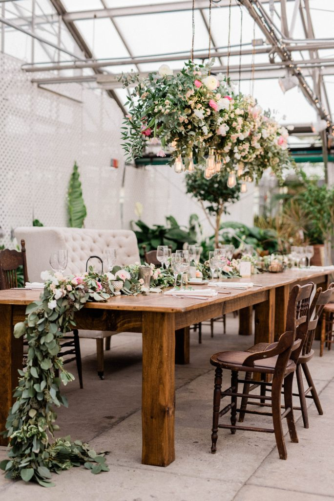 Cascading flowers on a table at the Fairmount Horticulture Center taken by Philadelphia Wedding Photographer Matt Genders Photography
