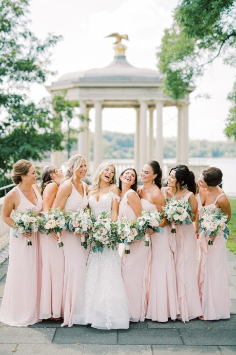 Bridal party smiling at Fairmount Waterworks by Cescaphe taken by Philadelphia Wedding Photographer Matt Genders Photography