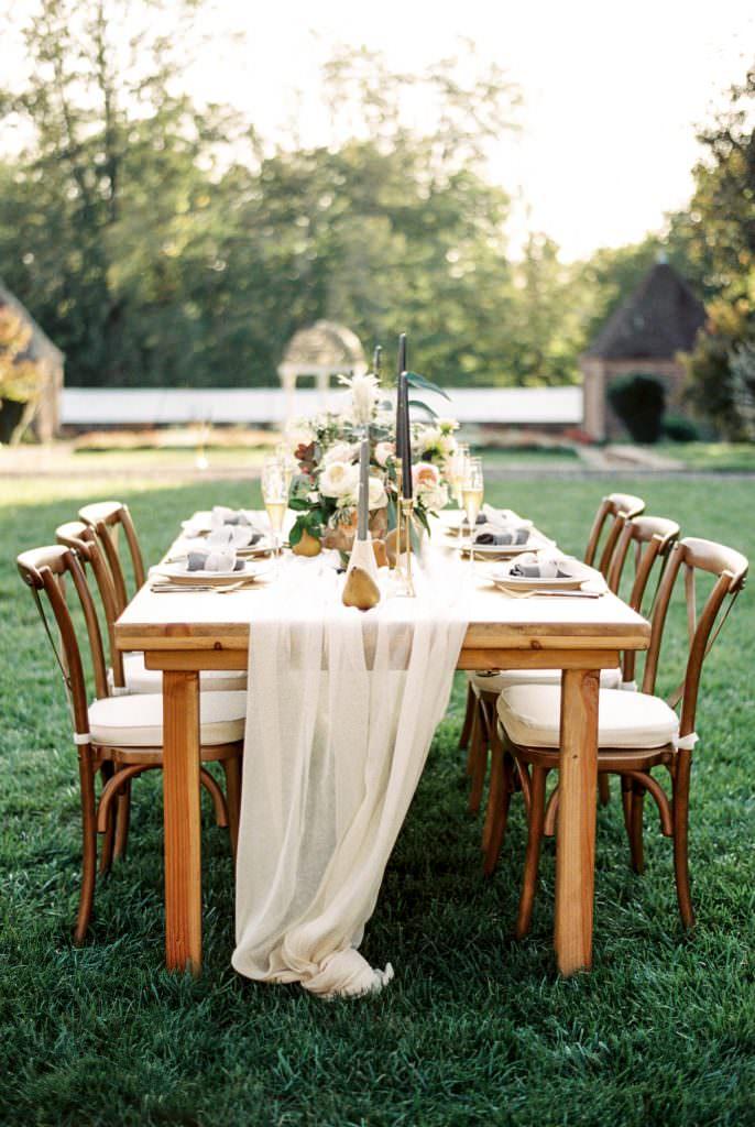 Fine art wedding reception table designed by Arielle Fera Events taken by Philadelphia Wedding Photographer Matt Genders Photography