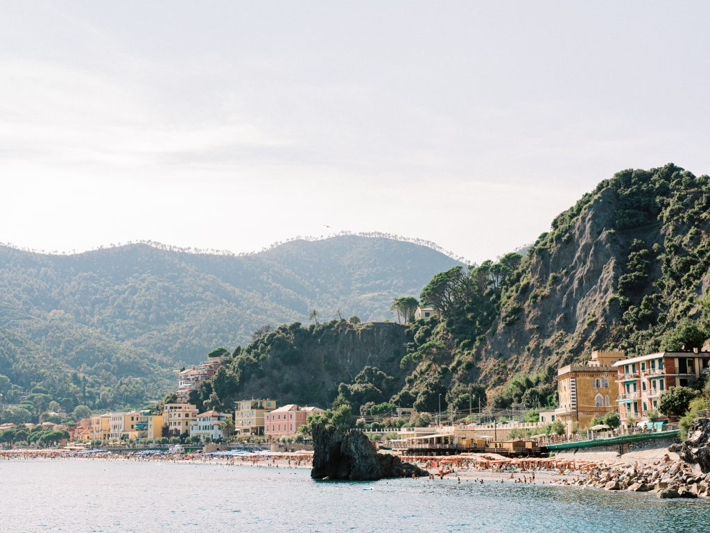 View of Monterosso al Mare in Cinque Terre from the water taxi taken by landscape photographer Matt Genders
