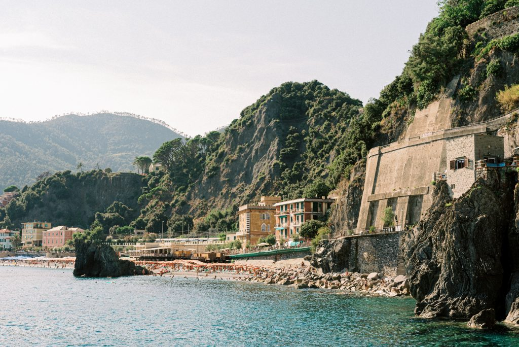 Monterosso al Mare Cinque Terre view from the water taxi taken by landscape photographer Matt Genders Photography