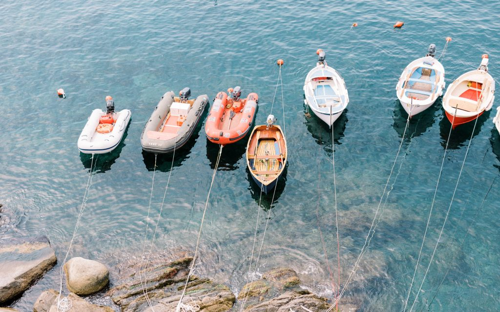 Boats lined up in the harber in Vernazza in Cinque Terre taken by landscape photographer Matt Genders