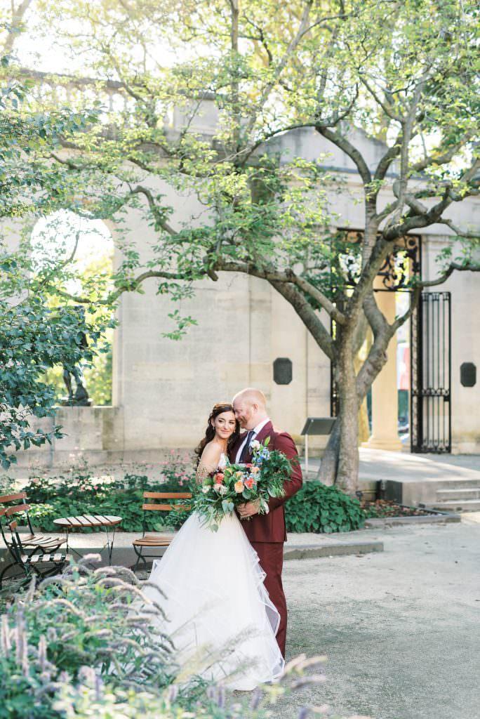 Bride and Groom in Rodin Museum courtyard in Philadelphia taken by Philadelphia Wedding Photographer Matt Genders