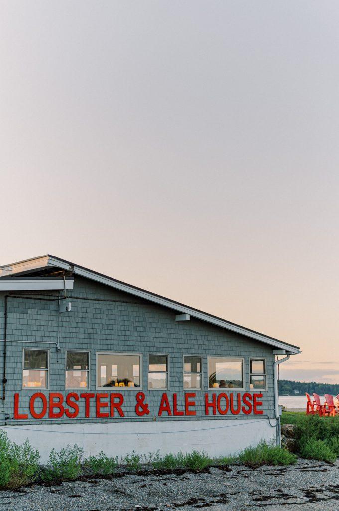Lobster & ale house at sunset in Bailey Island taken by destination wedding photographer Matt Genders