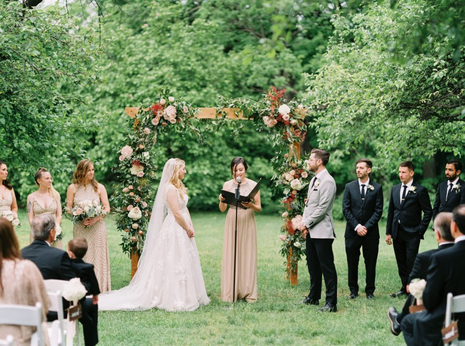 Bride and groom reciting vows at John J. Audubon Center taken by Philadelphia Wedding Photographer Matt Genders Photography
