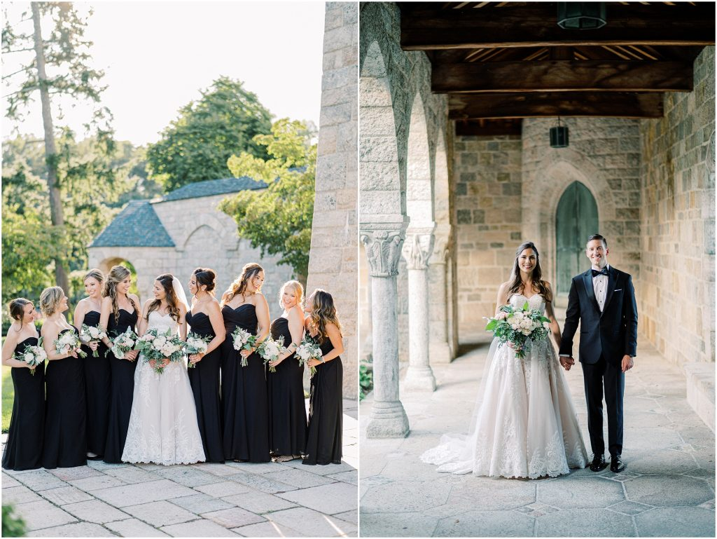 A bride and groom holding hands in a white dress and tuxedo at the Cloisters at Cairnwood Estate taken by Philadelphia Wedding Photographer Matt Genders