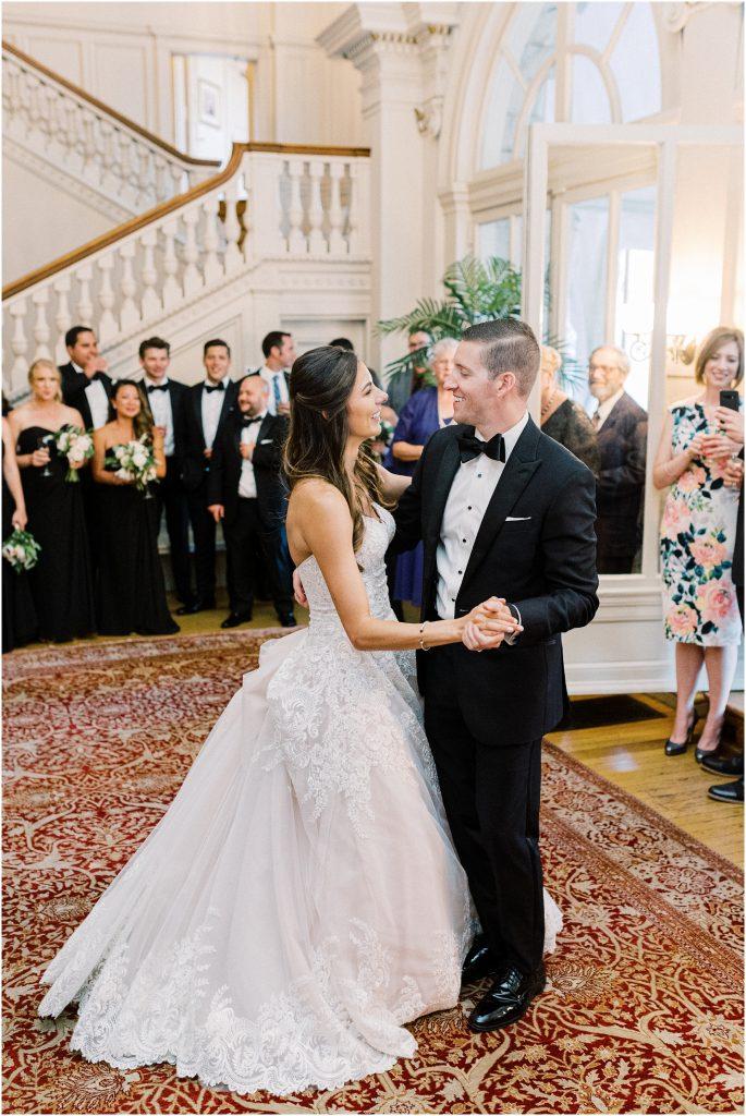 Bride and groom during their first dance in the ballroom at Cairnwood Estate taken by Philadelphia Wedding Photographer Matt Genders