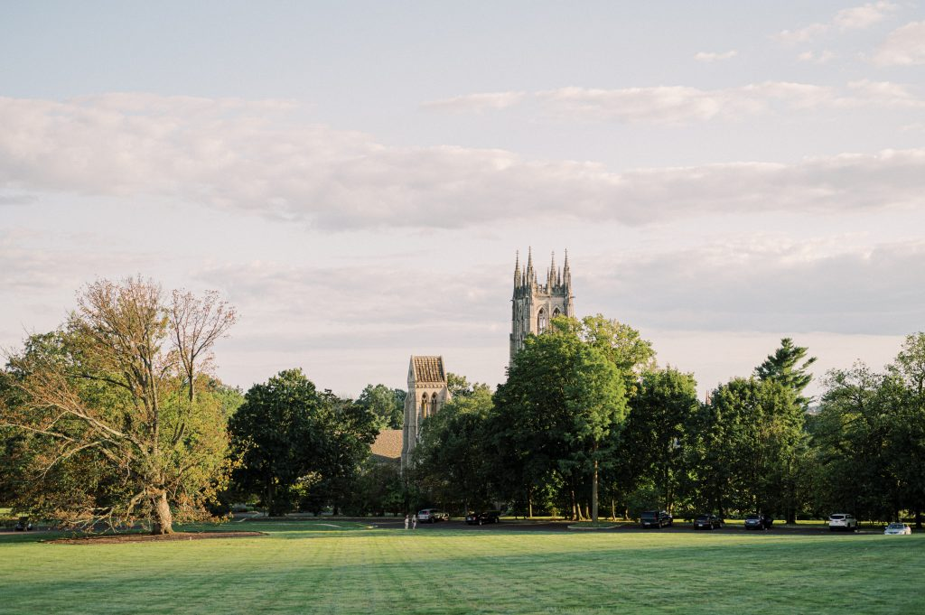 The Cathedral at sunset at Cairnwood Estate taken by Philadelphia Wedding Photographer Matt Genders Photography