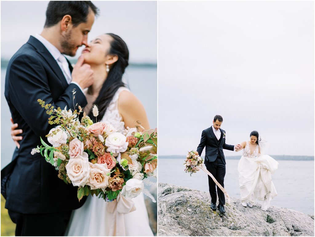 Bride and groom walking on the rocks in Maine at the Historic Harpswell Inn wedding taken by destination wedding photographer Matt Genders