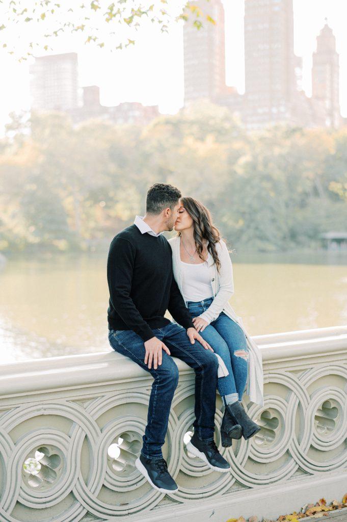 Couple on Bow Bridge in Central Park taken by Philadelphia Wedding photographer Matt Genders