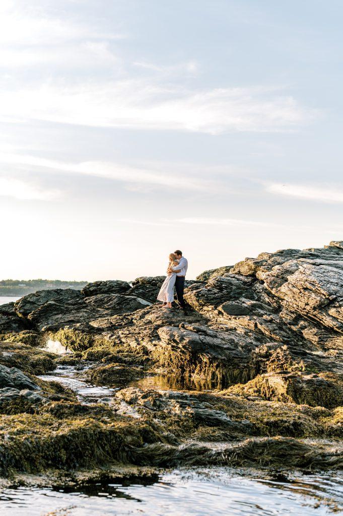 Bride and groom in blue sundress during engagement session at Newport Rhode Island taken by Philadelphia Wedding Photographer Matt Genders