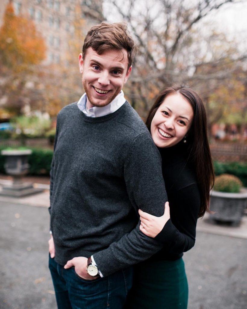 Philadelphia Wedding photographer Matt and Liz Genders standing in Rittenhouse Square Philadelphia