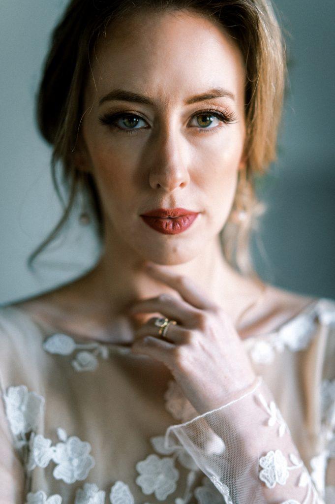 Bride in Rime Arodaky jumpsuit dress and red lipstick taken by Philadelphia Wedding Photographer Matt Genders Photography